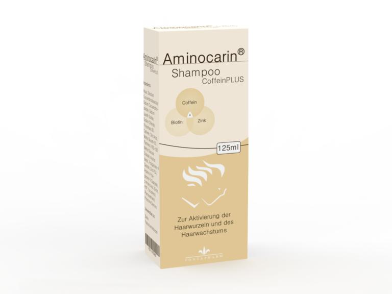 Aminocarin Coffein Plus schampoo zusätzlich mit Zink Biotin und Panthenol als Unterstützung gegen Haarausfall