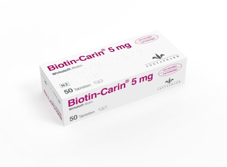 Biotin Carin 5mg, gut teilbare lactose- und glutenfreie Biotin Tablette