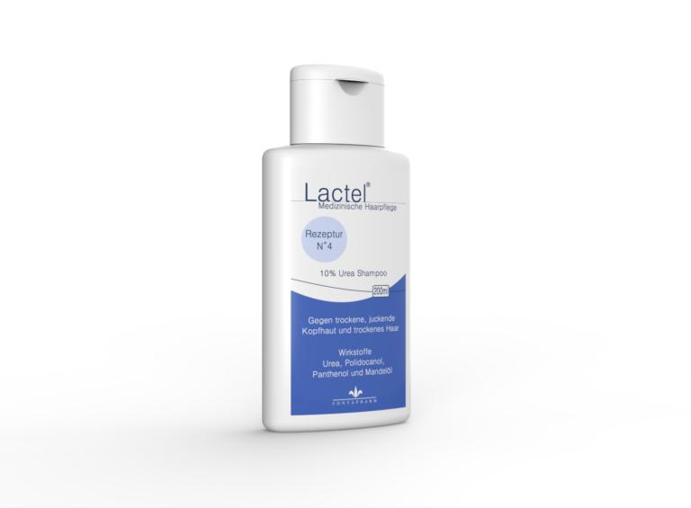 Lactel N° 4, das Shampoo gegen trockene, juckende Kopfhaut mit 10% Urea, Polidocanol und Panthenol für die tägliche Anwendung