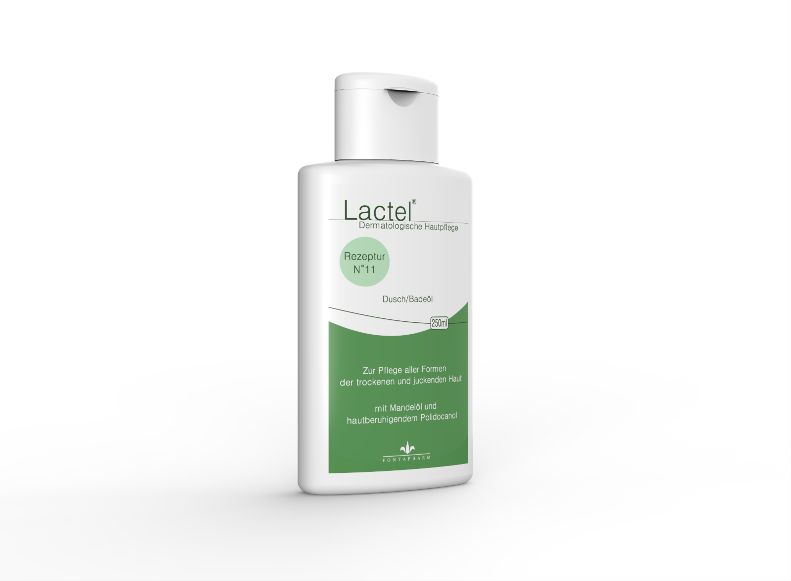 Lactel N° 11, das Dusch- und Badeöl für die trockene, juckende Haut mit Avocadoöl, Mandelöl und Mandelöl